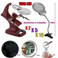 LOT Helping Hand Soldering Stand W/ LED Light Magnifier Glass Clip 2X 5X 30X OY9