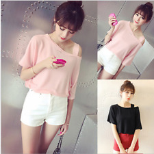 Korean summer Women/Girl Strapless casual short Sleeve T-shirt loose Blouse