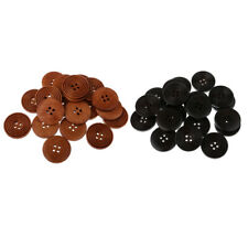 MagiDeal 20pcs Round Wood Wooden Buttons Black Brown 4 Hole Sewing Buttons DIY