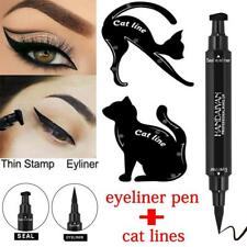 New 3Pcs 2in1 Dual-ended Liquid Eyeliner Pen With Stamp+Cat Eyeshadow Ruler Card