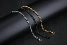 3MM Mens Stainless Steel Flat Cuban Curb Link Chain Necklace Gold Black Silver