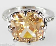 Size 6,7,8,9 Jewelry Woman's Champagne Topaz White Topaz 10KT Gold Filled Ring
