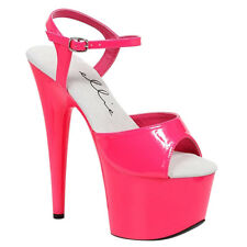 "ELLIE 709-SOLARIS 7""High Stiletto Heel Ankle Strap Open Toe Neon Platform Sandal"