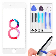 For iPhone 8 8 Plus White Front Screen Glass Lens Cover Replacement Repair Tools