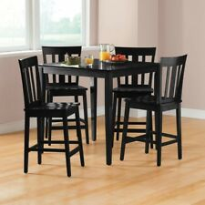 5 Piece Counter Height Dining Set Table Chairs Black Dinner Kitchen Breakfast