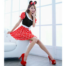 Women Sexy Minnie Mouse Costume Cosplay Outfit Polka Dot Dress Hair Bow Ears