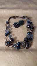Trifari Cobalt Blue Iridescent & Pale Blue 2 Strand Choker Necklace & Earrings