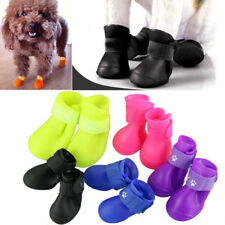 Candy Color 4pcs Pet Dog Puppy Rain Boots Shoes Anti-slip Waterproof Paws S M L
