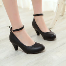 Sweet Mary Jane Womens PU Leather Ankle Strap Pumps High Heel Dress Shoes