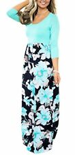 JOYMODE Women's 3/4 Sleeve Maxi Dress Casual Contrast Color Round Neck Long