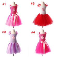 Girls Peppa Pig Pink Purple Red White Bowknot Tutu Princess Party Dress 3-12Y