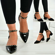 New Womens Ankle Strap Studded Spike Pointed Pumps Block Heels Shoes Sizes