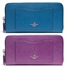 NWT COACH Crossgrain Leather Accordion Zip Wallet F54007 SV BRIGHT MINERAL BERRY