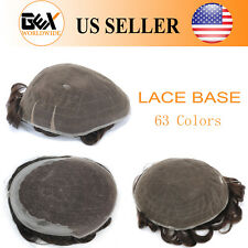 GEX 63 Colors Toupee Mens Hairpiece Full Lace Human Hair Replacement System
