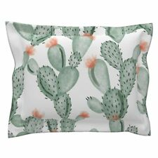 Green Paddle Cactus Rose Oversized Green Cotton Pillow Sham by Roostery