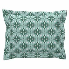 Watercolor Green Tile 2 Green Geometric Cotton Pillow Sham by Roostery
