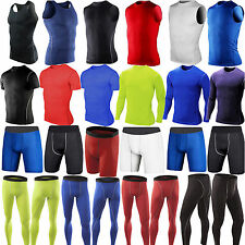 Mens Sports Compression Tights Base Layer Gym Long Pants Fitness T-Shirts Tops