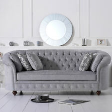 Chelsea Grey Plush 3 Seater Buttoned Chesterfield Sofa