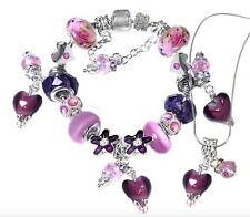 Purple Murano Love Hearts Pink Beads Silver Plated Bracelet & Necklace Set