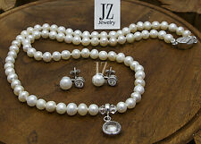 Freshwater Pearl Necklace with Crystal Cut Pendant & Sterling Silver Clasp