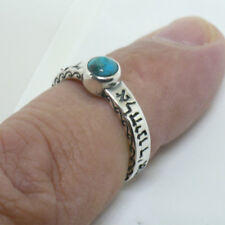 Handcrafted 925 Sterling Silver shema yisrael Ring Turquoise size 6 - 9