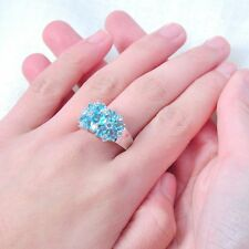 Ring with 6.40ct Cyan Blue & White Sapphire in 10k White Gold Filled