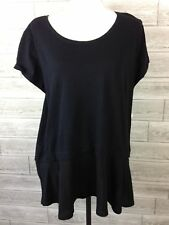 NEW Style Co Blouse Womens Plus 1X 2X 3X Black Ruffle Layered Short Sleeve N3-XX