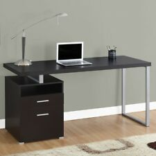 Home Office Computer Desk Brown Modern Writing Table Workstation Storage Drawers