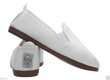 FLOSSY STYLE SLIP ON SHOE SHOES ORIGINAL WHITE CANVAS PLIMSOLL FLOSSYS