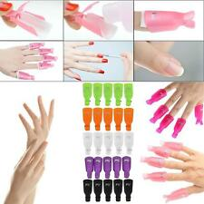 10pcs Nail Polish Remover Caps- Wearable Soakers UV Gel Cleaner Clip Nail Art 0ウ