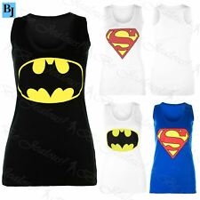 New Womens Ladies Sleeveless Muscle Racer Back Superman Batman T Shirt Vest Top