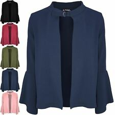Womens Ladies Casual Buckle Open Front Frill Long Sleeve Blazer Jacket Cardigan