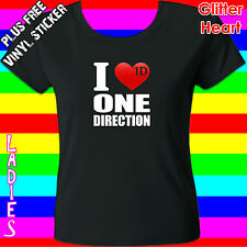 ONE DIRECTION T-SHIRT TEE – I LUV ONE DIRECTION –RED GLITTER – KIDS/TEENS/LADIES
