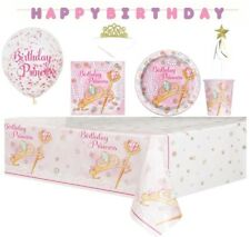 Princess PARTY tablecover plates confetti balloons napkins tiaras *FREE WAND