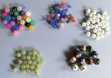 4 to 10 mm Round Spacer Beads Cloisonné~Glass~Resin: Jade ~ White or Multi-Color