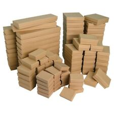 Lots of 25~50~100~500 Kraft Cotton Filled Gift Boxes Jewelry Cardboard Box