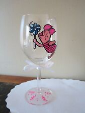Hand Painted Wine Glass Piglet with Pinwheel  Winnie the Pooh 12 oz.