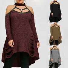 AU Womens Ripped Off Shoulder Knitted Sweater Ladies Oversized Dress Jumper Tops
