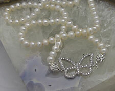 Freshwater Pearl Necklace with S/Silver Crystal Butterfly & Rhinestone Clasp