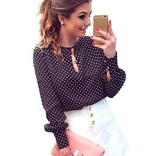 Long Sleeve Slit Open Women Blouse Chiffon Hollow Sexy Casual Polka Dots Shirt