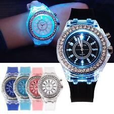 Ladies Womens LED Backlight Bling Quartz Wrist Watches Sport Watch Waterproof P6
