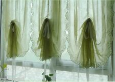 Pair of Shabby Chic Fixed Valance with Hem Lace Pull-up Curtains, Pinch Plea