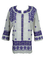 INDIAN COTTON TUNIC BLOUSE WHITE FLORAL HAND EMBROIDERED BOHO GYPSY HIPPY KURTA
