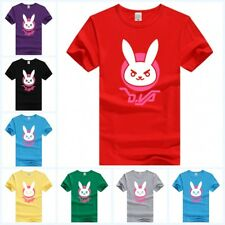Game Overwatch OW D.VA Rabbit T-shirt Men/Women Round Collar Short Sleeve Tee