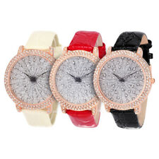 Alias Kim Bling Fashion Crystal Glitter Face Leather Band Bracelet Wrist Watch