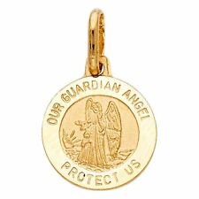14k Yellow Gold Religious Our Guardian Angel Medal Charm Pendant