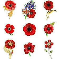 NEW LARGE RED POPPY PIN BROOCH 2018 ENAMEL VINTAGE CRYSTAL LOT BADGE COLLECTION