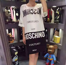 Women's Dress T Shirt  Mos Top Milano Black White Characters Printed (Size XS)