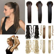 Real Natural Clip In Ponytail Hair Extensions Straight Curly Wavy Wrap Pony Tail
