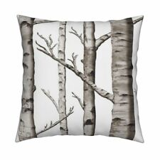 Forest Birch Trees Woods Birch Throw Pillow Cover w Optional Insert by Roostery